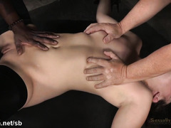 Two demanding male rods for brunette slave's luscious beaver and mouth