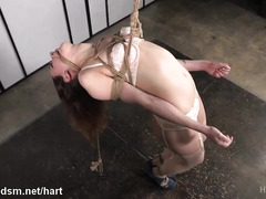 Rough whipping and caning punishment delights for tied up cute brunette slave