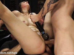 Sweet brunette receives atrocious gangbang drilling for her succulent love tunnels
