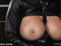 Sultry blonde in straightjacket enjoys rough and lusty bondage punishment