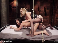 Tormenting sexy Asian fuck doll gives blonde mistress ecstatic pleasures