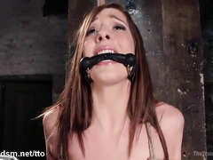 Sweet brunette slave receives rough training for her juicy shaved poon tang