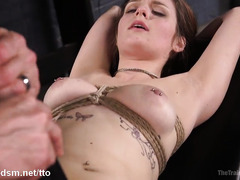 Loads of tears from captivating brunette during her slave training session