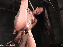 Extreme beaver stimulation with lusty beatings for gorgeous Asian slave