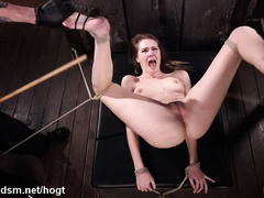 Punishing and degrading sweet blonde slave with excessive beating and toying