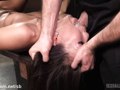 Asian chick is awfully delighted to receive rough fucking and fisting punishment
