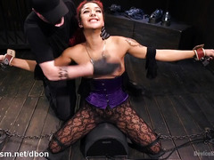 Sultry ebony and tough master took turns to torment beautiful petite slave