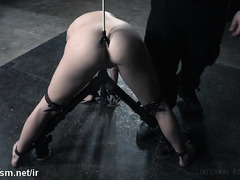 Vigorous beaver drilling and toying pleasures for bounded dark-haired slave