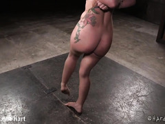 Tormenting slave chick with intense beaver toying and rough beating