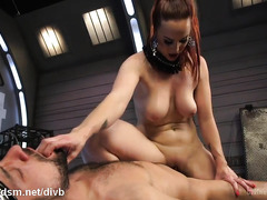Busty mistress owns slave's thick cock and she can do whatever she wants with it