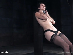 Tormenting hot mature slave in sexy stockings with excessive beating punishment