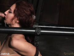 Chained up brunette slave could hardly breath properly from rough cock-gagging