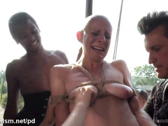 Bald slave chick endures double penetration delights inside an abandoned house