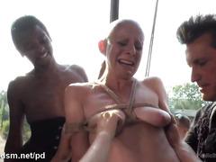 Bald slave chick endures double penetration delights inside an abandoned house