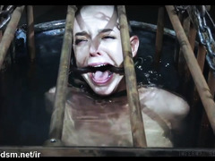 Caged bald slave could not stop screaming as master dunks her inside the water