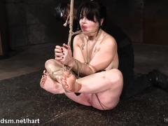 Hogtied beauty gets a metal toy inside her butt while master stimulates her twat
