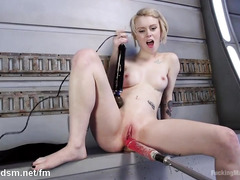 Horny and skinny blonde enjoys rough hammering delights from the fucking machine