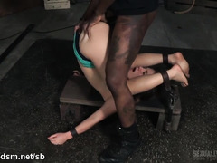 Skinny brunette slave is sexually wasted from rough and relentless beaver thrashing