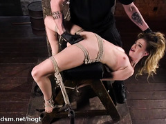 Arduous toying for gagged, bounded and suspended slave's juicy poon tang