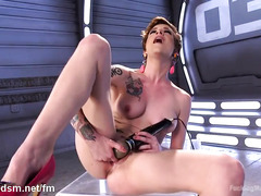 Short-haired beauty is moaning with ecstasy from playing with the fucking machine
