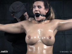 Busty brunette chick gets her hot body oiled before fervent beaver toying