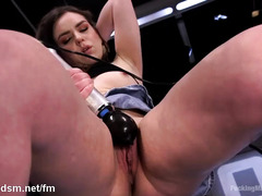 Explosive fucking machine delights for horny and gorgeous brunette chick