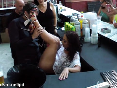 Filthy hot outdoor bar punishment for naughty and horny brunette slave