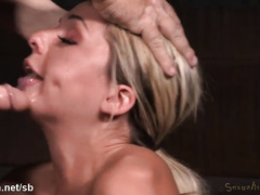 Tormented blonde sheds tears while giving master passionate deepthroating