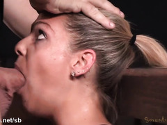 Tormenting skinny blonde with rough deepthroating while she rides on the sybian
