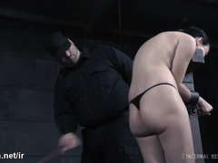 Excruciating beating pleasures for submissive slave's smooth bottoms