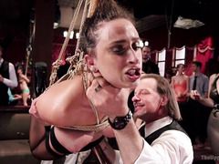 Rough punishment for captivating slave as she fails to remember the house rules