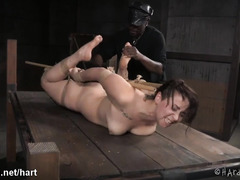 Hogtied beauty enjoys wicked caning and toying punishment from black master