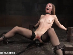 Three throbbing and demanding peckers for sexy blonde slave's wet mouth