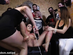 Humiliating and wild sexual punishment for hot slave at a local hair salon