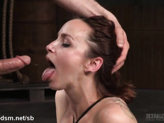 Intense deepthroating and rough beaver fucking pleasures for bounded redhead