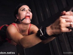 Busty slave chick with sexy pierced clits enjoys rough bondage punishment