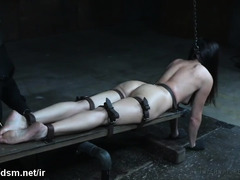 Mesmerizing slave gets her beaver toyed while receiving rough punishment