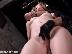 Vigorous and relentless pussy stimulation for hogtied blonde slave sweetheart