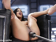 Sultry ebony moans wildly from masturbating and playing with the fucking machine