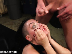 Tough beauty gets her juicy fuck holes pounded tenaciously by several bikers