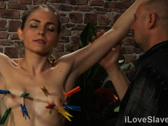 Two captivating slaves flogged their own bodies for master's viewing pleasures