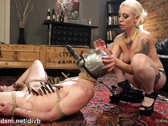 Demanding blonde mistress punishes worthless slave stud for worshiping women