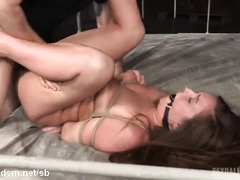 Two demanding male rods for sweet brunette slave's tight and juicy beaver