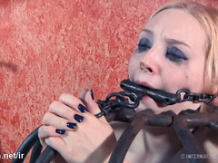 Sweet blonde slave gets her lovely bottoms beaten until awfully bruised