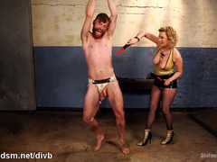 Hot mistress shocks slave stud with electroplay and painful body flogging