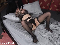 Black master torments bounded tattooed slave on the bed with his hard male rod