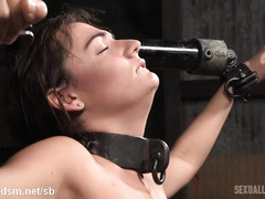 Demure brunette slave gives lusty group deepthroating while riding on the sybian