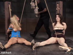 Two gorgeous slaves could not stop screaming as black master torment their cunts