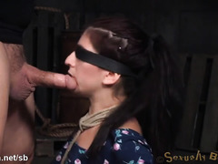 Hogtied beauty is totally breathless from giving relentless deepthroating
