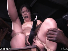 Asian slave experiences vigorous pussy toying until she burst out loads of nectar